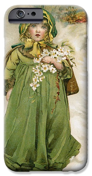 Nineteenth iPhone Cases - A Girl With Flowers In Snow iPhone Case by Mary Evans