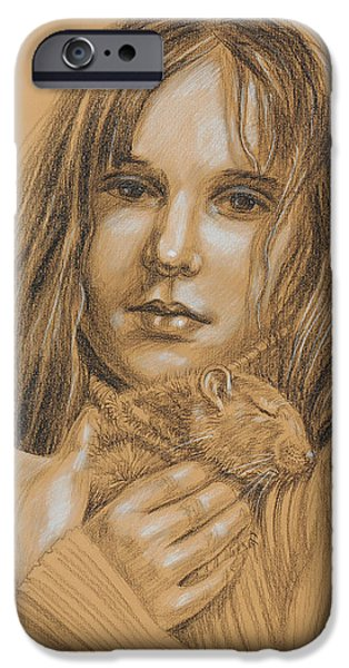 Face Drawings iPhone Cases - A Girl With The Pet iPhone Case by Irina Sztukowski