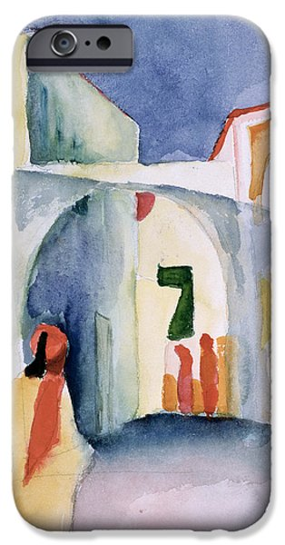Fez iPhone Cases - A Glance Down An Alley Wc iPhone Case by August Macke
