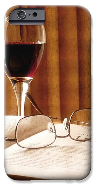 Pleasure iPhone Cases - A Good Book and A Glass of Wine iPhone Case by Lucinda Walter