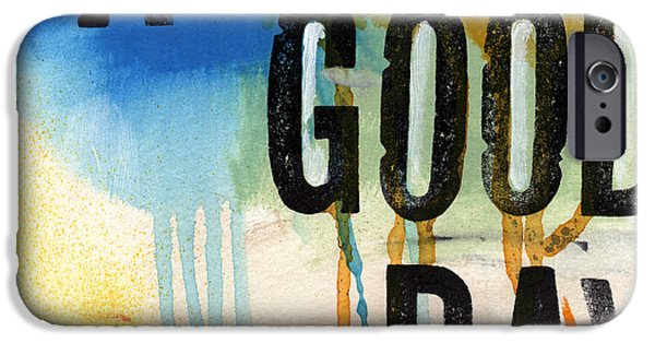 Painted Mixed Media iPhone Cases - A Good Day- Abstract Painting  iPhone Case by Linda Woods