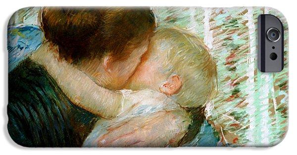 Recently Sold -  - Bonding iPhone Cases - A Goodnight Hug  iPhone Case by Mary Stevenson Cassatt