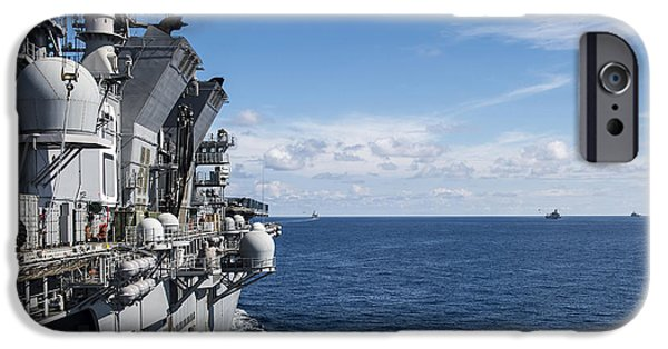At Arrivals iPhone Cases - A Gorup Of Military Ships Transit iPhone Case by Stocktrek Images
