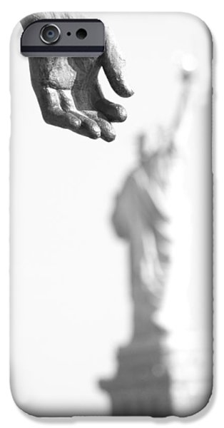 American Pride Pyrography iPhone Cases - A grab for freedom iPhone Case by Habib Ayat