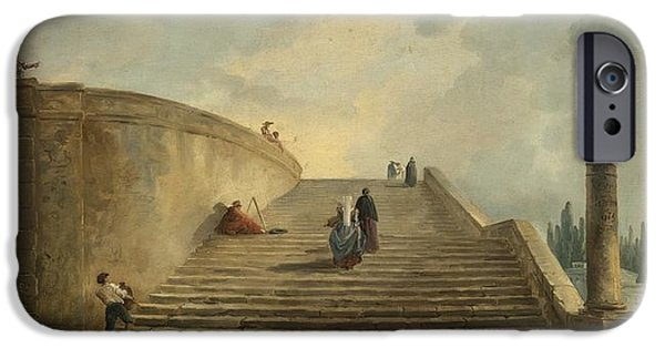 Staircase Paintings iPhone Cases - A Grand Staircase iPhone Case by Celestial Images