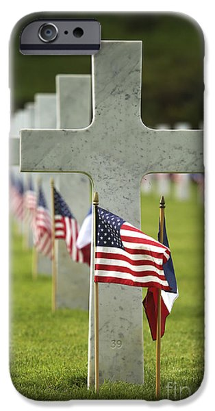 Headstones iPhone Cases - A Grave Site At Aisne-marne American iPhone Case by Stocktrek Images
