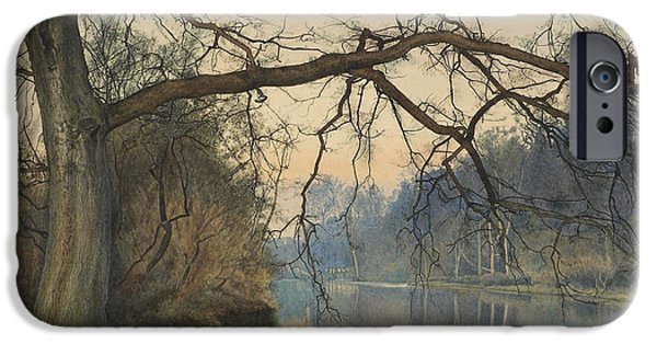Overhang iPhone Cases - A Great Tree on a Riverbank iPhone Case by William Fraser Garden