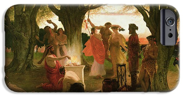 Gathering Photographs iPhone Cases - A Greek Festival Oil On Canvas iPhone Case by Thomas Ralph Spence
