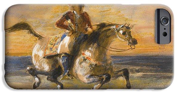 Delacroix iPhone Cases - A Greek Horseman iPhone Case by Eugene Delacroix