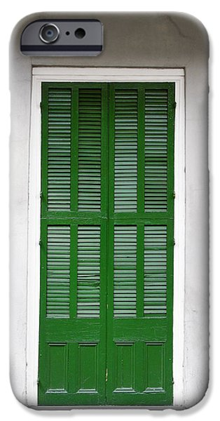 A green door in New Orleans iPhone Case by Christine Till