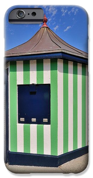 Architectur iPhone Cases - The Green kiosk on the promenade in Bray Ireland iPhone Case by Frazer Ashford