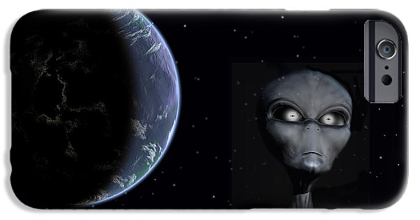Strange iPhone Cases - A Grey Alien With Planet Earth iPhone Case by Mark Stevenson