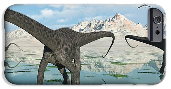 Concept Digital iPhone Cases - A Group Of Diplodocus Dinosaurs Grazing iPhone Case by Mark Stevenson