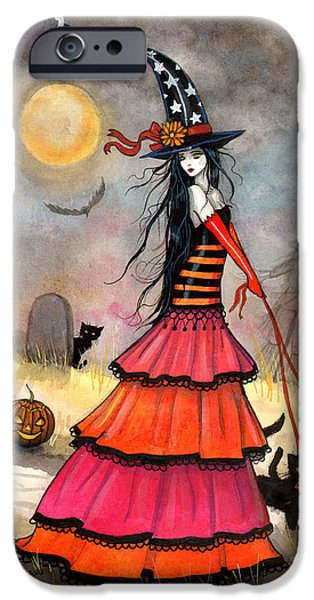 Witch Halloween Cat Wicca Paintings iPhone Cases - A Halloween Stroll iPhone Case by Molly Harrison