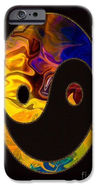 Abstract Digital Mixed Media iPhone Cases - A Happy Balance of Energies Abstract Healing Art iPhone Case by Omaste Witkowski