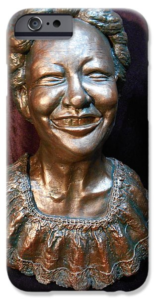 Bust Sculptures iPhone Cases - A Happy Face iPhone Case by Phyllis Dunn