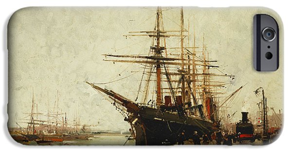 Eugene Laloue iPhone Cases - A Harbor iPhone Case by Eugene Galien-Laloue