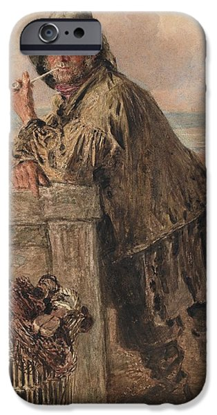 Net Paintings iPhone Cases - A Hastings Fisherman iPhone Case by William Henry Hunt