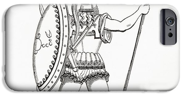 Greek iPhone Cases - A Heavily Armed Greek Warrior Dressed For Battle.  From The Imperial Bible Dictionary, Published iPhone Case by Bridgeman Images