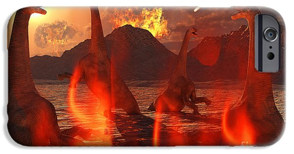 Wildlife Disasters iPhone Cases - A Herd Of Dinosaurs Struggle iPhone Case by Mark Stevenson