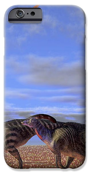 A Herd Of Parasaurolophus Dinosaurs iPhone Case by Corey Ford