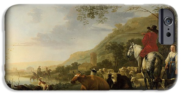 Landscape With Figure iPhone Cases - A Hilly Landscape with Figures iPhone Case by Aelbert Cuyp