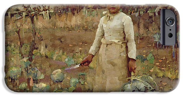 Farm iPhone Cases - A Hinds Daughter, 1883 Oil On Canvas iPhone Case by Sir James Guthrie