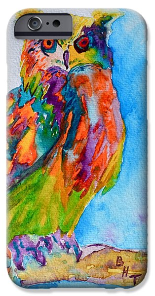 Yellow Beak Paintings iPhone Cases - A Hootiful Moment In Time iPhone Case by Beverley Harper Tinsley