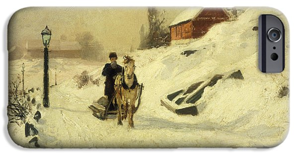 Snowy iPhone Cases - A Horse Drawn Sleigh in a Winter Landscape iPhone Case by Fritz Thaulow