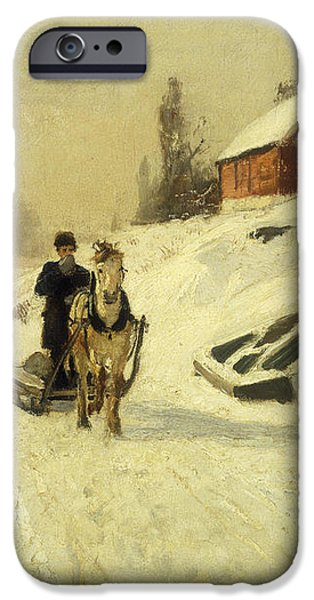 A Horse Drawn Sleigh in a Winter Landscape iPhone Case by Fritz Thaulow