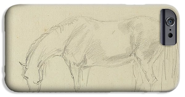 Profile iPhone Cases - A Horse Grazing Graphite On Paper iPhone Case by Sawrey Gilpin