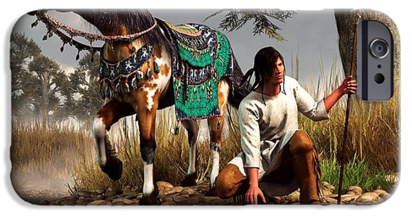 Western Art Digital Art iPhone Cases - A Hunter and His Horse iPhone Case by Daniel Eskridge