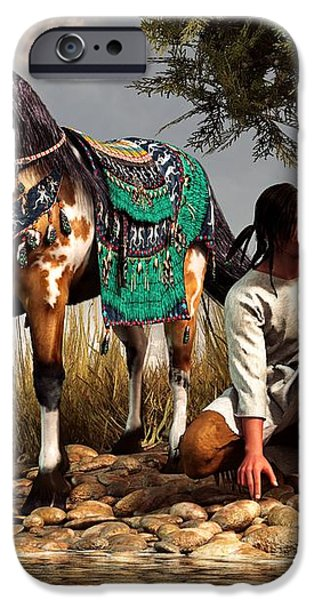 A Hunter and His Horse iPhone Case by Daniel Eskridge