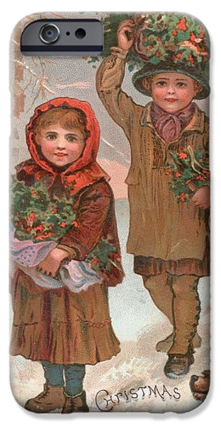 Cards Vintage iPhone Cases - A Joyful Christmas to you   Victorian Christmas card  iPhone Case by English School