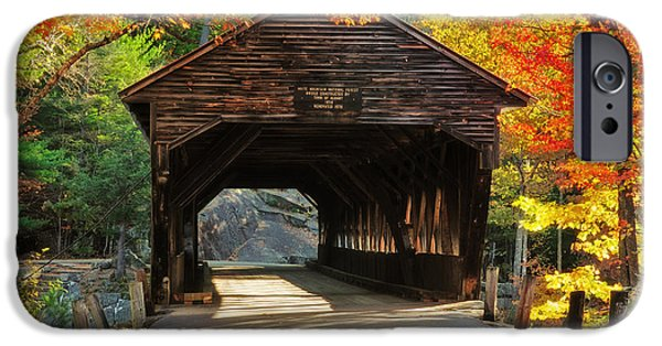 Fall Scenes iPhone Cases - A Kancamagus Gem - Albany Covered Bridge NH iPhone Case by Thomas Schoeller