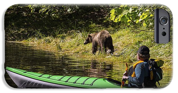 Tongass iPhone Cases - A Kayaker Watches As A Brown Bear Hunts iPhone Case by John Hyde