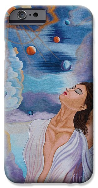 Space Tapestries - Textiles iPhone Cases - A Kiss to the Millennium hand embroidery iPhone Case by To-Tam Gerwe