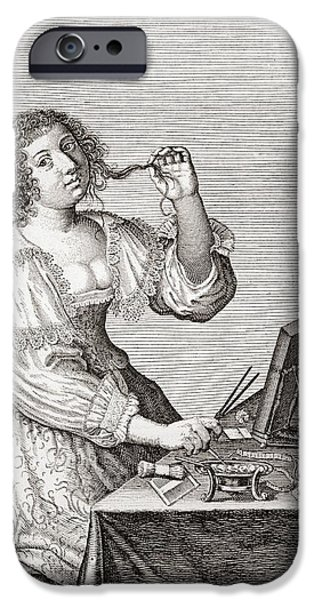 Seventeenth Century iPhone Cases - A Lady At Her Toilette, After A 17th Century Engraving By Le Blond.  From Illustrierte iPhone Case by Bridgeman Images