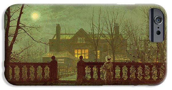 Haunted House Paintings iPhone Cases - A Lady In A Garden By Moonlight iPhone Case by John Atkinson Grimshaw