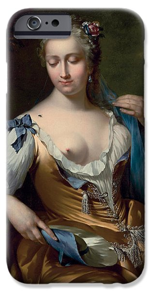 Woman In A Dress iPhone Cases - A Lady in a Landscape with a Fly on her Shoulder iPhone Case by Frans van der Mijn