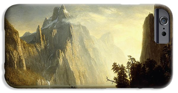 Mist Paintings iPhone Cases - A Lake in the Sierra Nevada iPhone Case by Albert Bierstadt