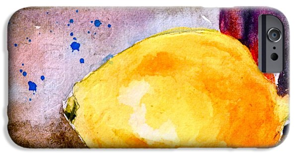 Wine Bottles iPhone Cases - A Lemon iPhone Case by Beverley Harper Tinsley