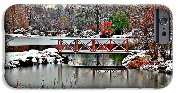 Covered Bridge iPhone Cases - A Light Dusting Of Snow iPhone Case by Judy Palkimas