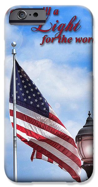 Patriotism iPhone Cases - A Light for the World iPhone Case by Larry Bishop