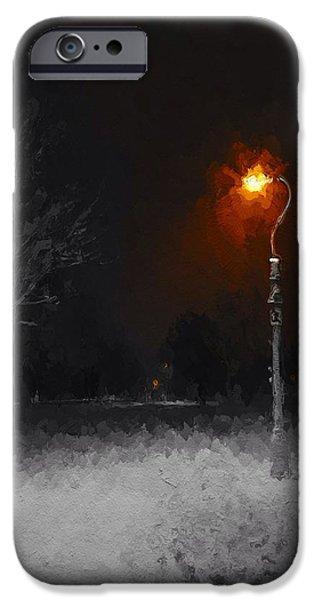 Night Lamp Mixed Media iPhone Cases - A Light in a cold winters night iPhone Case by Stefan Kuhn