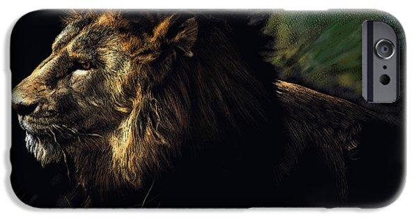 John Stewart iPhone Cases - A Lion #1 iPhone Case by John Norman Stewart