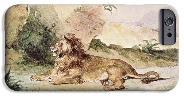 Wild Cats iPhone Cases - A Lion in the Desert iPhone Case by Ferdinand Victor Eugene Delacroix
