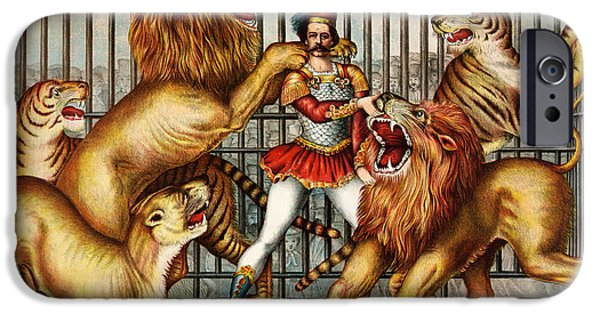 Cage Paintings iPhone Cases - a Lion tamer in cage with two lions iPhone Case by Celestial Images