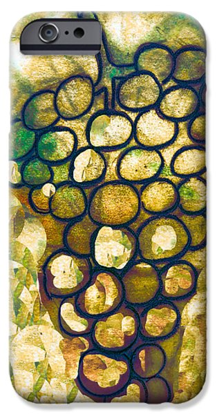 Table Wine Drawings iPhone Cases - A little bit abstract grapes iPhone Case by Jo Ann