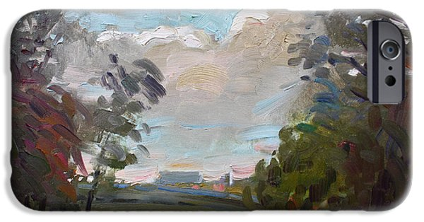 Storm Paintings iPhone Cases - A Little Break from the Rain iPhone Case by Ylli Haruni